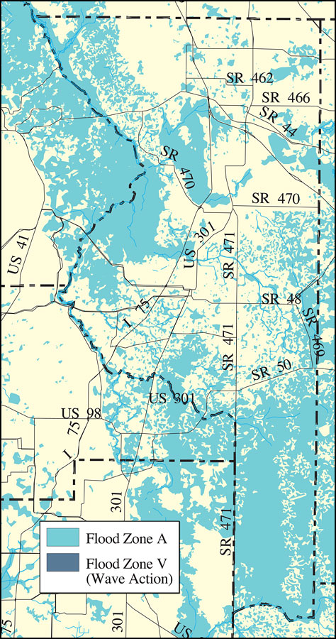 Distribution of FEMA 100-Year Flood Zones- Sumter County, May 9, 2001