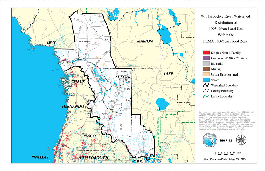 Flood Zone Map Florida.Withlacoochee River Watershed Distribution Of 1995 Urban Land Use