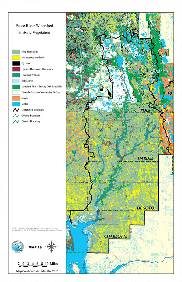 Peace River Florida Map Peace River Watershed Historic Vegetation, May 4, 2001