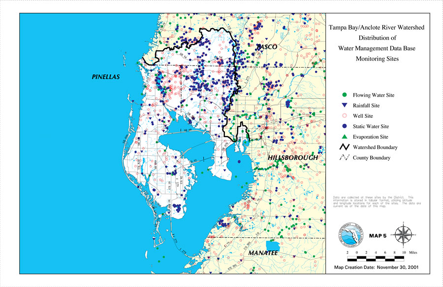 Florida Watershed Map.Tampa Bay Anclote River Watershed Distribution Of Water Management