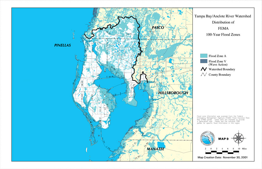 Tampa BayAnclote River Watershed Distribution Of FEMA Year - Flood line map