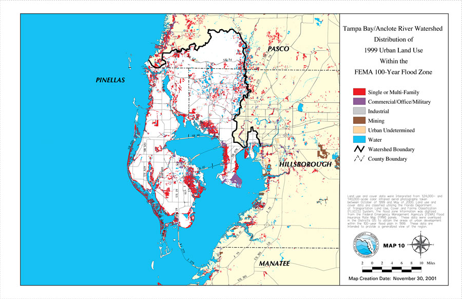 Tampa BayAnclote River Watershed Distribution Of Urban Land - Florida flood plain map