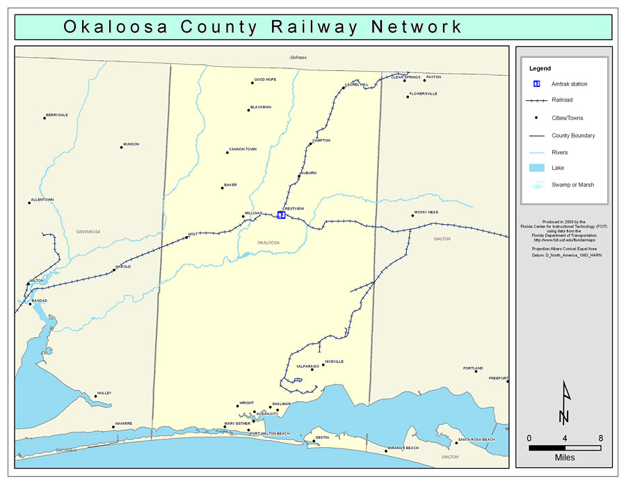 Mary Ester Florida Map.Okaloosa County Railway Network Color 2009