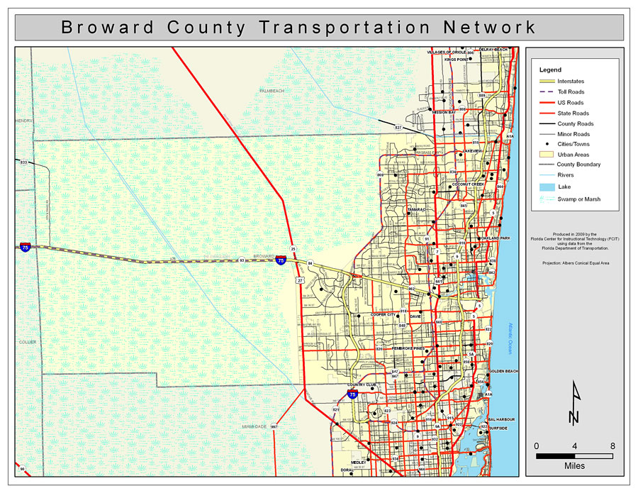 Broward County Road Network Color - Florida towns map