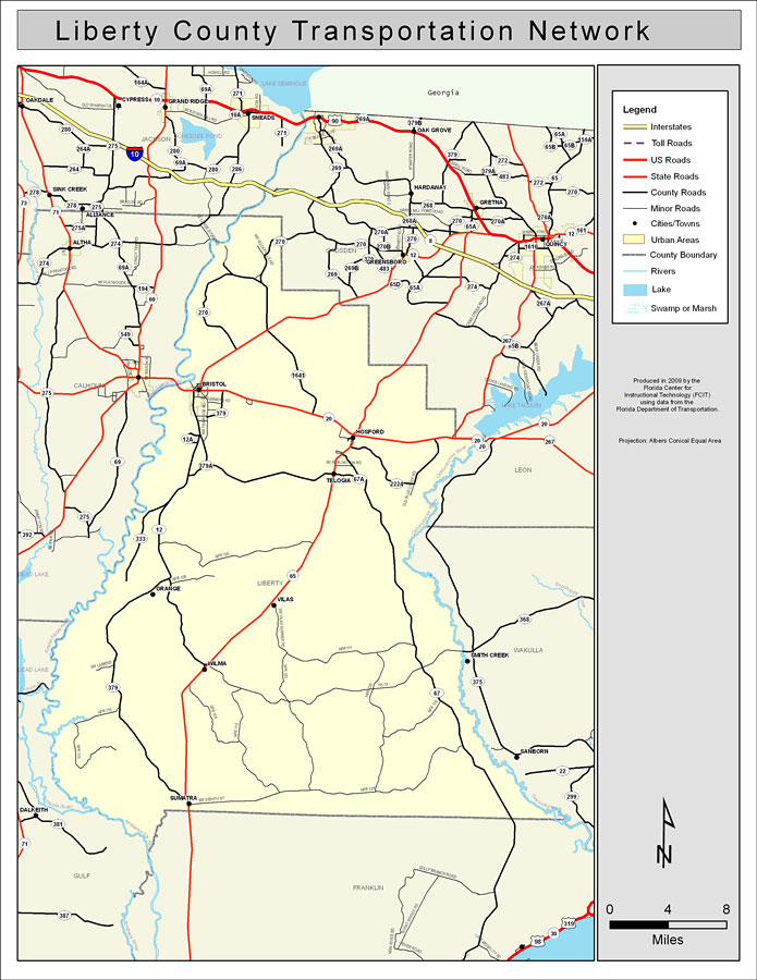County Map Of Florida With Roads.Liberty County Road Network Color 2009