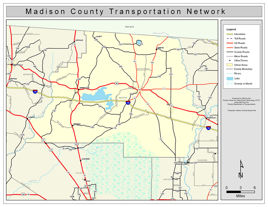 Madison County Road Network Color 2009