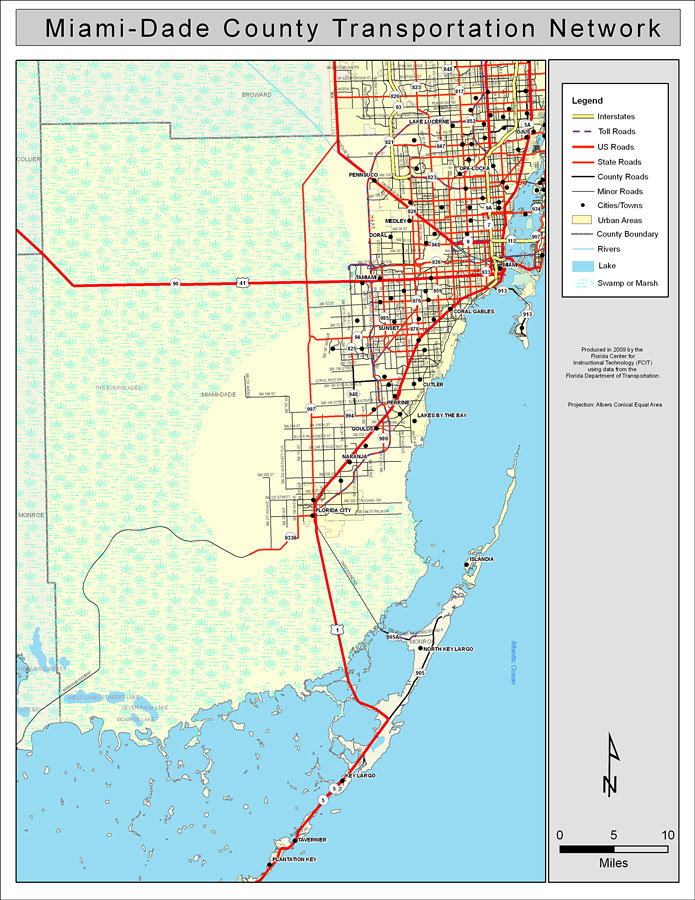 Miamidade County Road Work Color 2009: Map Of Dade County Florida At Slyspyder.com