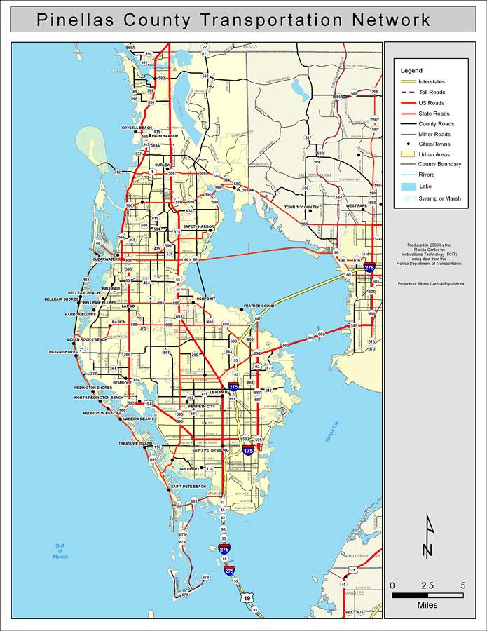 Pinellas County Road Network- Color, 2009
