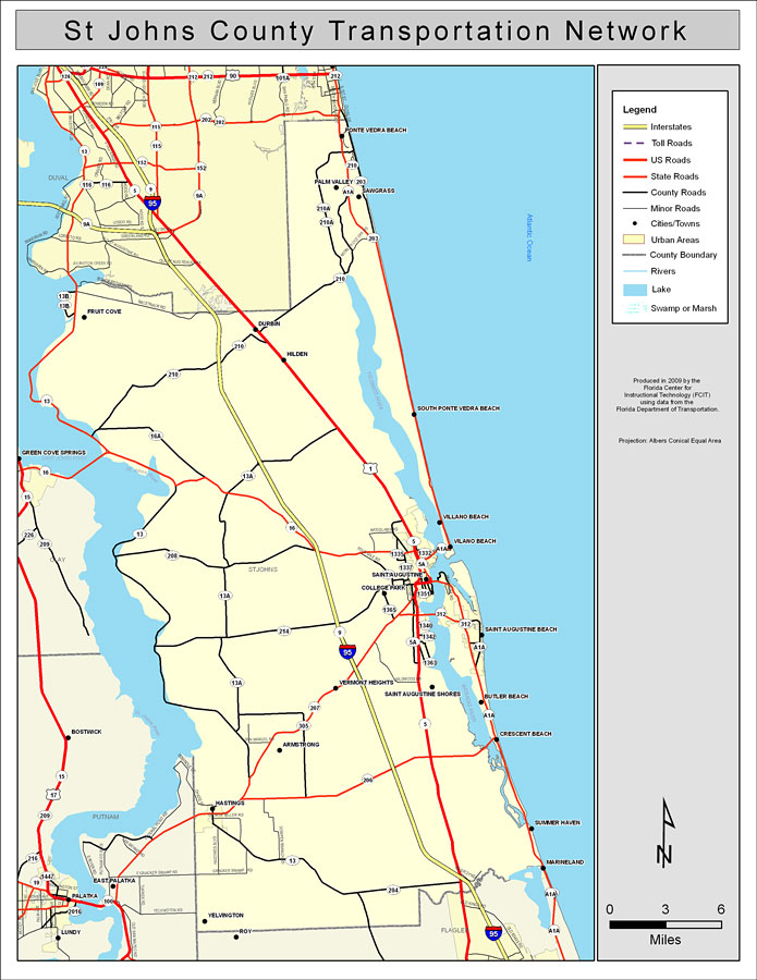 St Johns County Road Network Color 2009