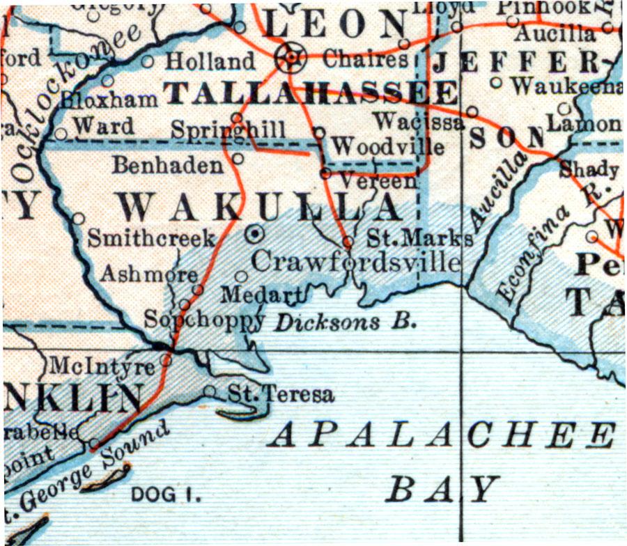 Map Of Wakulla County Florida.Wakulla County 1914
