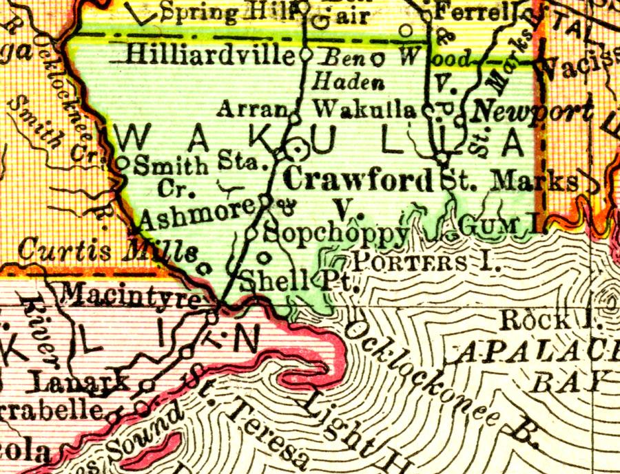 Map Of Wakulla County Florida.Wakulla County 1900