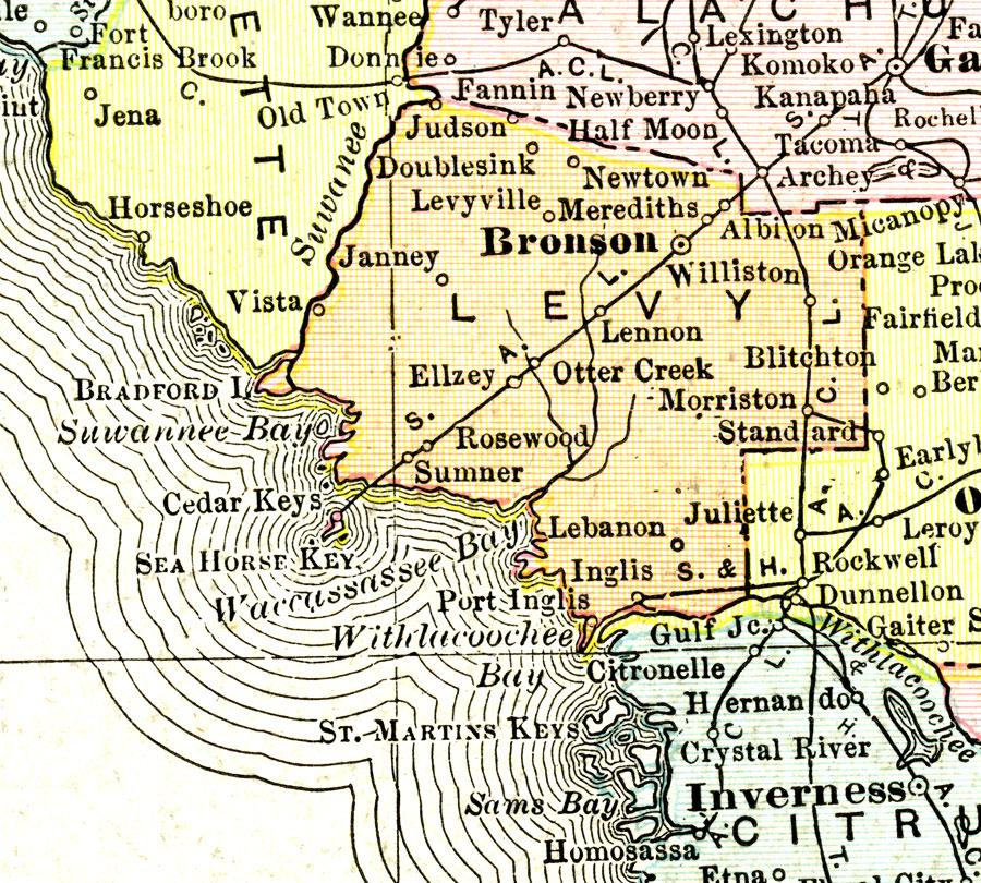 Williston Florida Map.Levy County 1911