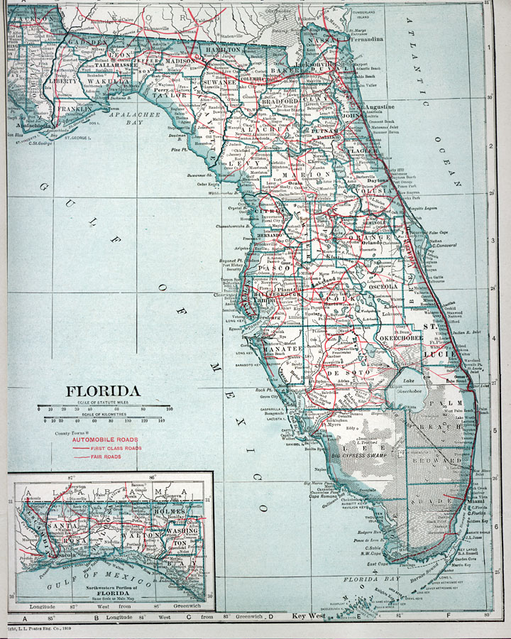 of florida 1919 site map automobile map of florida 1919