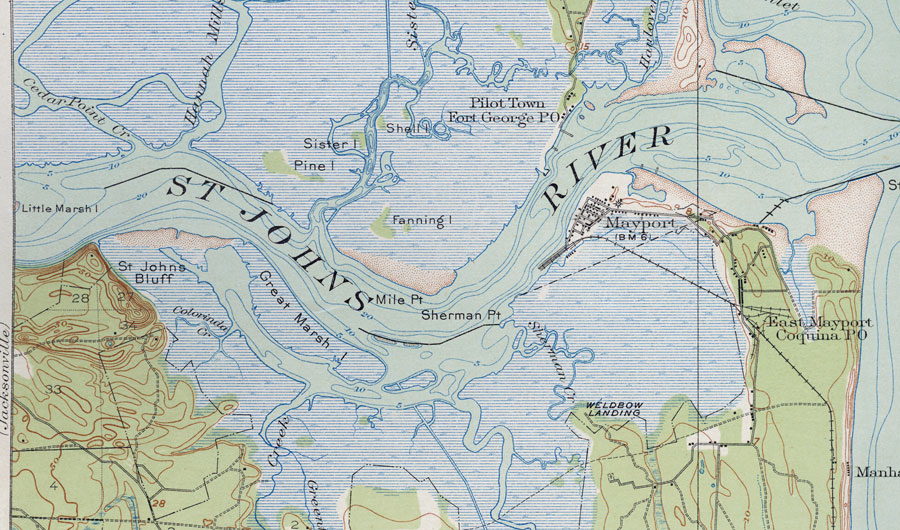 Mouth of St. Johns River, 1918 on cross florida barge canal, volusia county, st. marys river, chattahoochee river, lake monroe, caloosahatchee river, pa river map, alpine river map, silver springs, russia river map, pee dee river map, john day river map, james river, peace river, huron river map, st. lawrence river map, tennessee river, caloosahatchee river map, arkansas river map, rio grande river map, vernon river map, dames point bridge, kingston river map, st. clair river map, missouri river map, ocklawaha river, suwannee river, mississippi river map, st. augustine, apalachicola river, indian river county, henry's fork river map, suwannee river map, mn river map, kanawha river map, withlacoochee river, st. louis river map, vero beach, lake george,