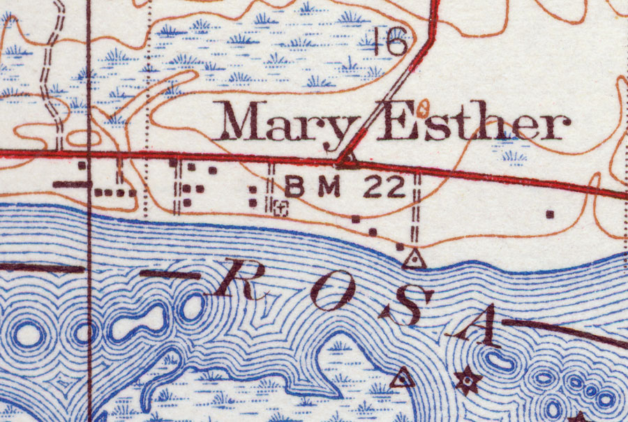 Map Of Mary Esther Florida.Mary Esther 1938