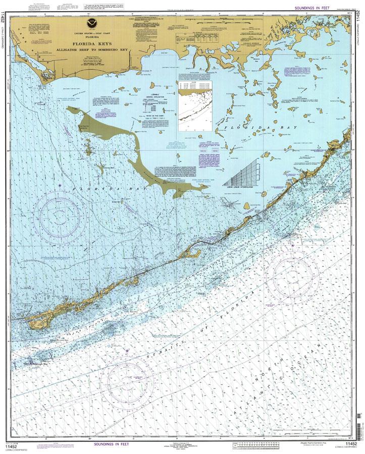 Florida Keys Map.Florida Keys Alligator Reef To Sombrero Key 1999