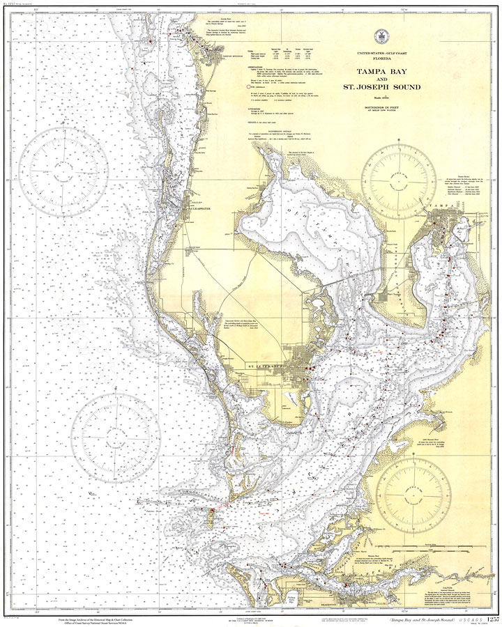 Tampa Florida On Map.Tampa Bay And St Joseph Sound 1932