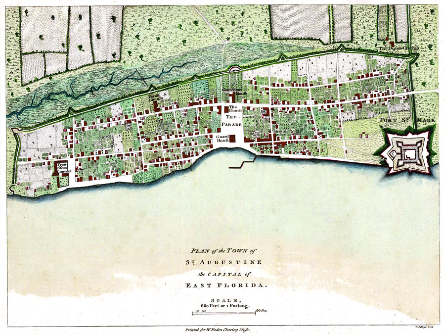 Map Western Florida.Plan Of The Town Of St Augustine The Capital Of East Florida The