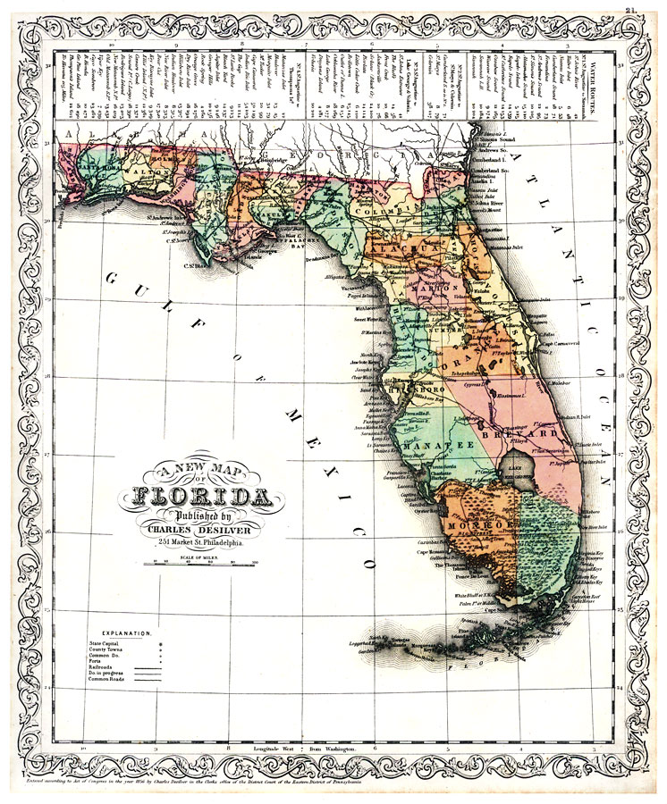 A New Map Of Florida 1856