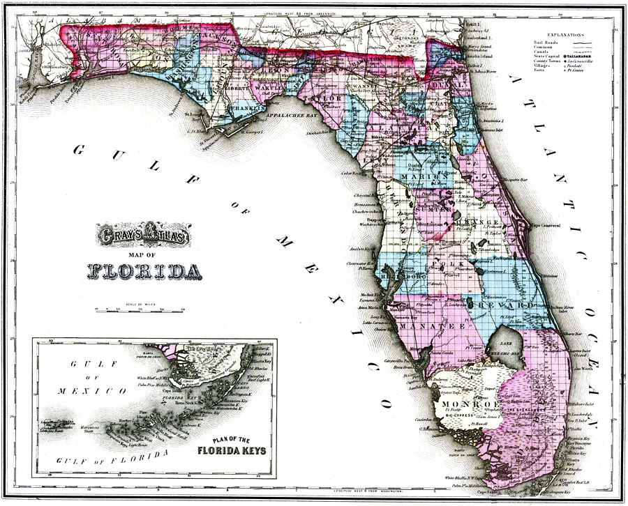 Gray\'s Atlas map of Florida, 1875