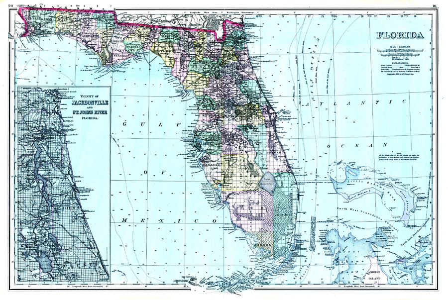 Gray's Atlas map of Florida, 1886