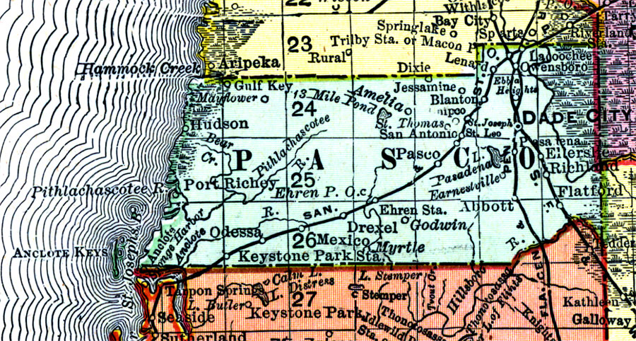 Map Of Pasco County Florida.Pasco County 1898 Ad