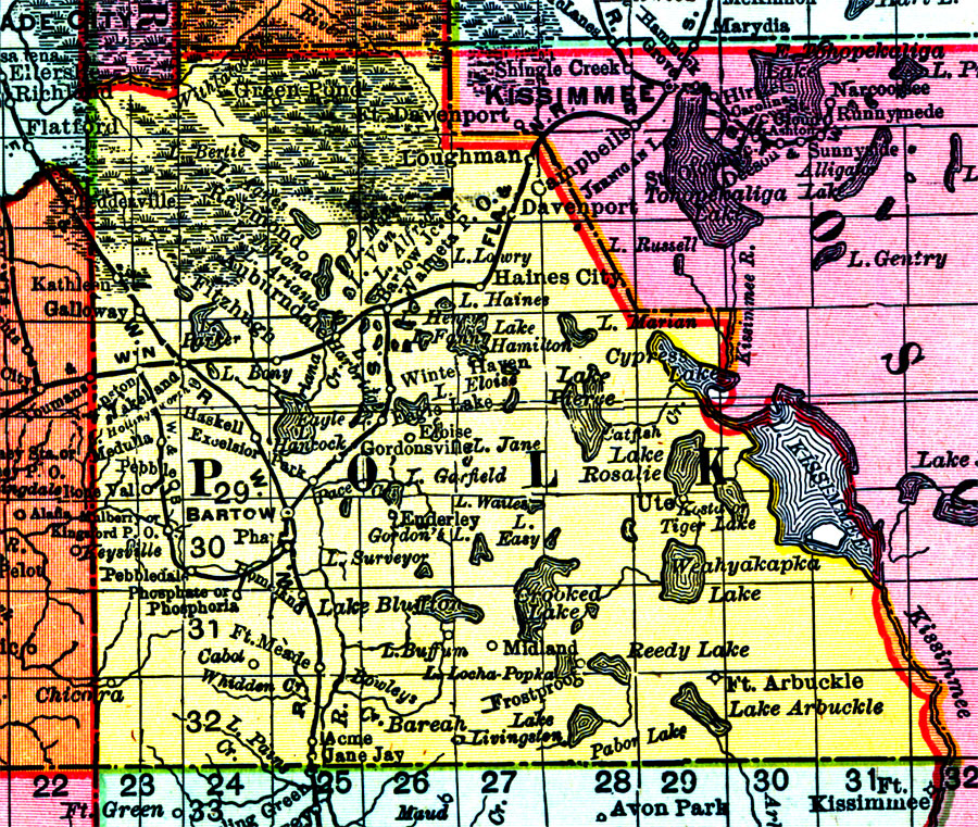 Map Of Polk County Florida.Polk County 1898 Ad