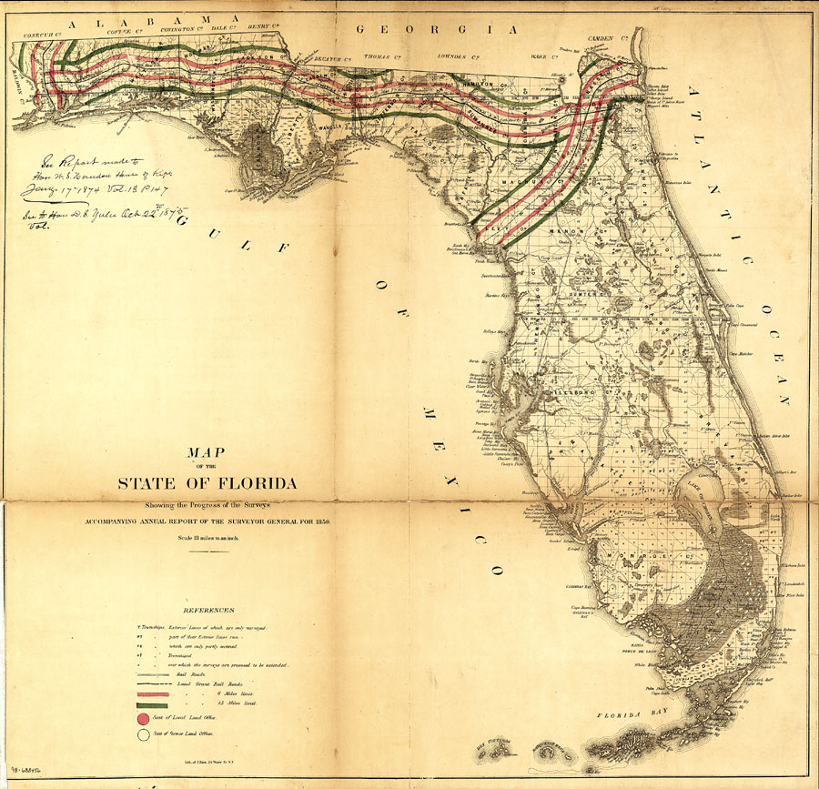 Georgia And Florida Map.Map Of The State Of Florida Showing The Progress Of The Surveys
