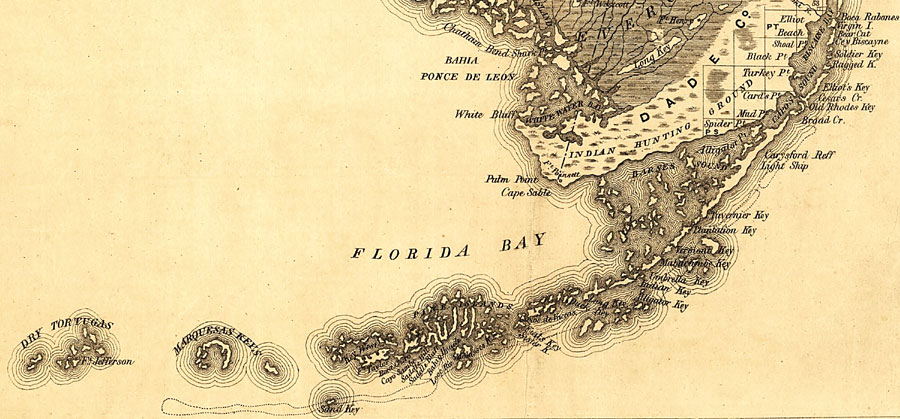 The Florida Keys Map.The Florida Keys 1859