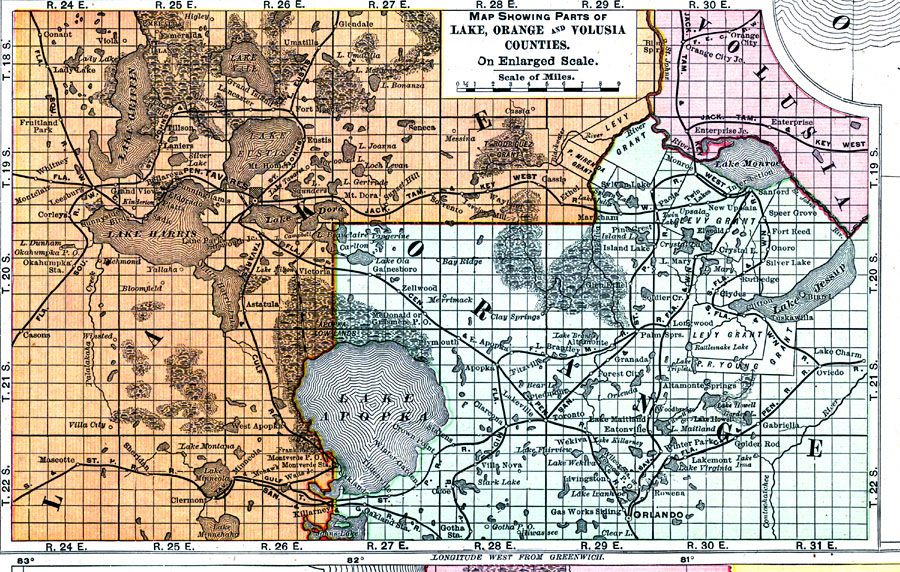 Orange County Florida Map.Map Showing Parts Of Lake Orange And Volusia Counties 1898 Ad