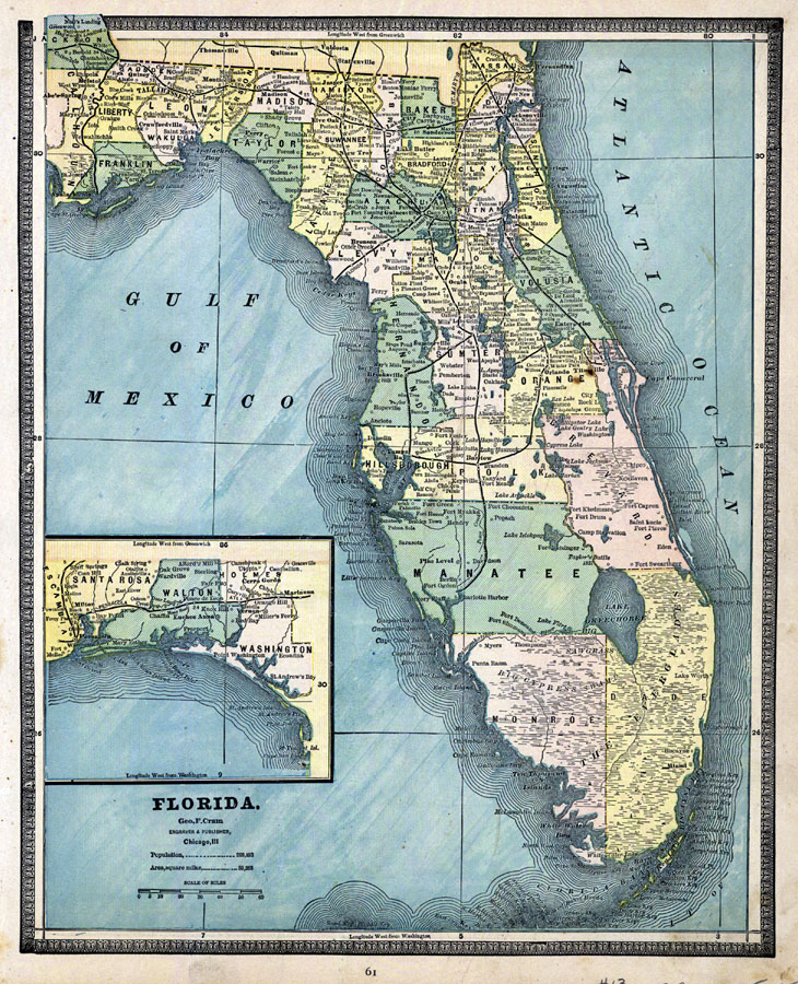 Map of Florida, 1902 S In Florida Map on