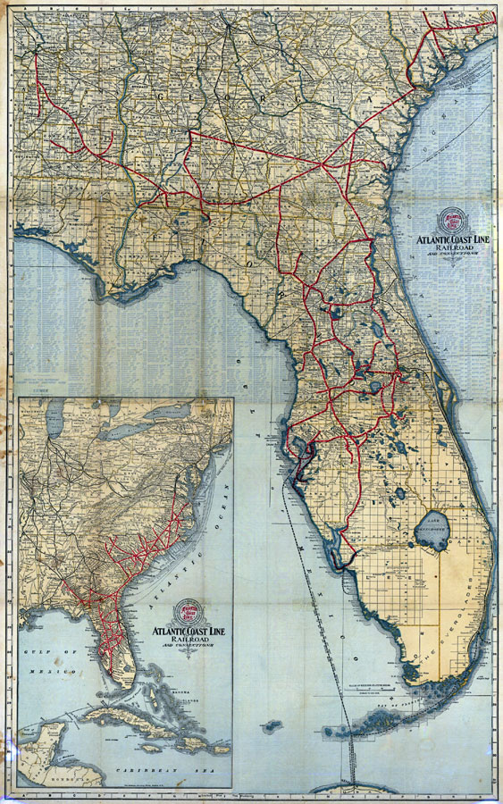 Map Florida East Coast.Complete Map Of Florida And The South 1905