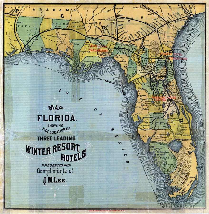 Map Of Florida  Leading Winter Resort Hotels - Florida map picture