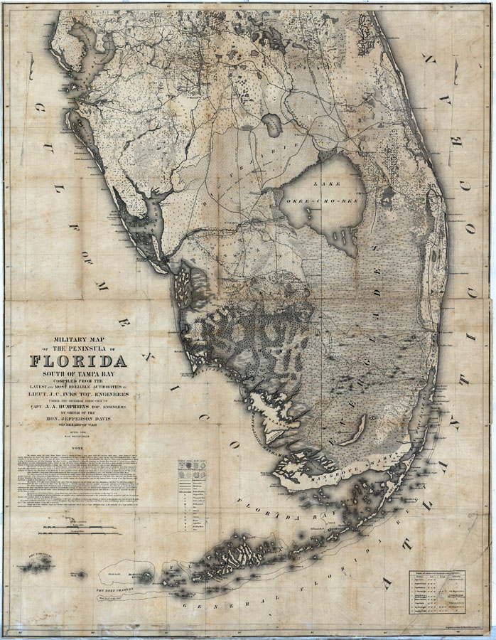 Military map of the peninsula of Florida south of Tampa Bay, 1856 AD