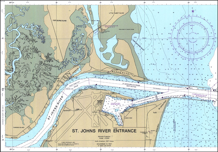 St. Johns River Entrance, 1986 on saint francis river map, lower john day river map, oregon river map, potomac river map, south branch river map, saint clair river map, salem river map, saint john's florida map, st. louis river map, ice in st. clair river map, saint joe river map, susquehanna river map, st. lawrence river on us map, united states river map, saint lawrence river map, elizabeth river map, st. mary river florida on map, vicksburg river map, saint augustine river map, ohio river map,