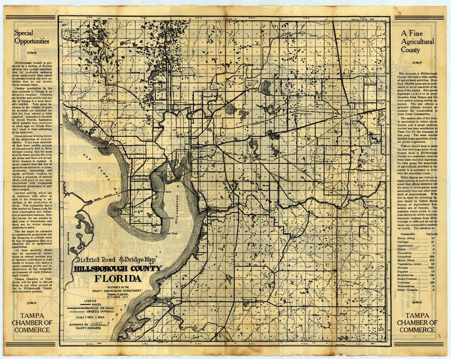 Hillsborough County Florida District Road and Bridge Map 1927