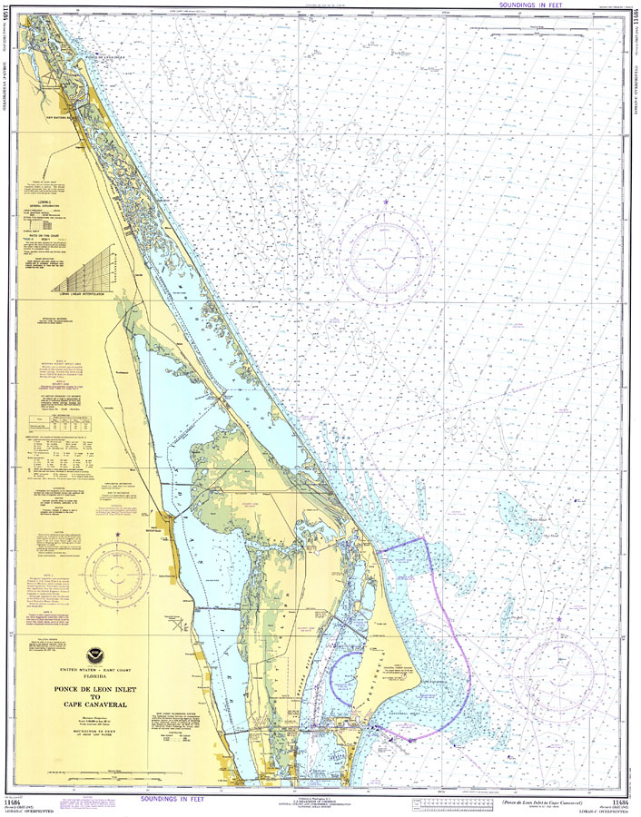 Cape Canaveral Florida Map.Ponce De Leon Inlet To Cape Canaveral 1977