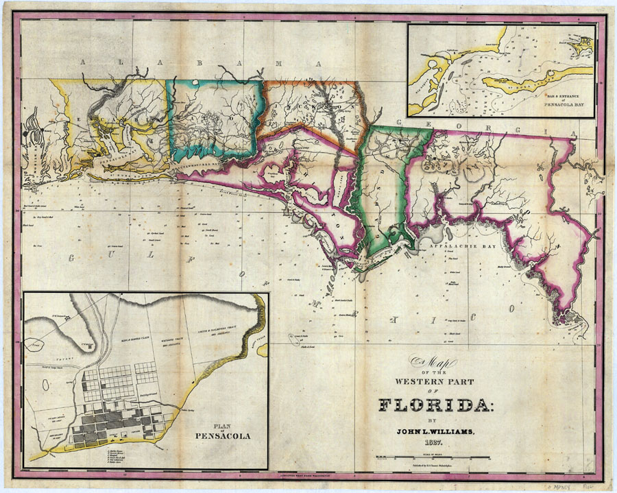 Western Florida Map.Map Of The Western Part Of Florida 1827 Ad