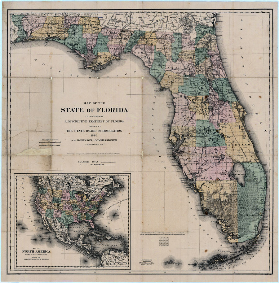 Map Of Florida Counties And Cities.Florida State Maps 1880 1899