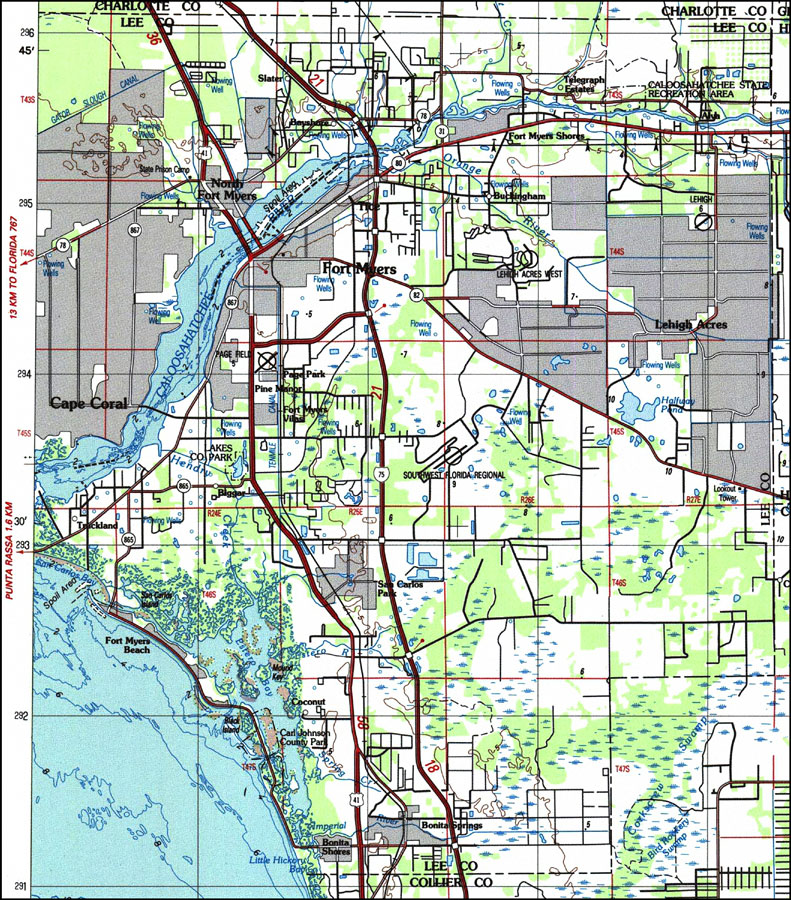 Map Of Lee County Florida.Lee County Florida 1987
