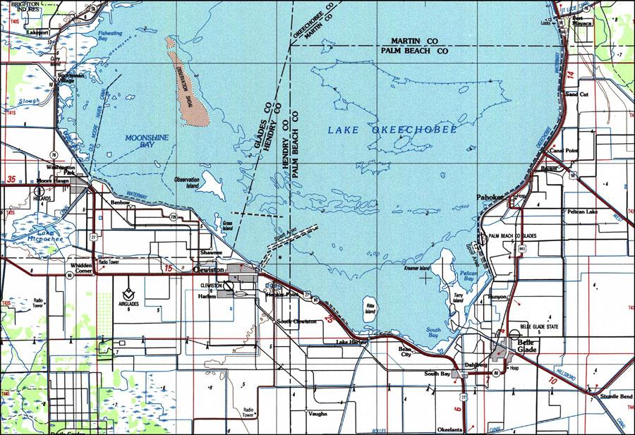 lake okeechobee depth map South Lake Okeechobee 1987 lake okeechobee depth map