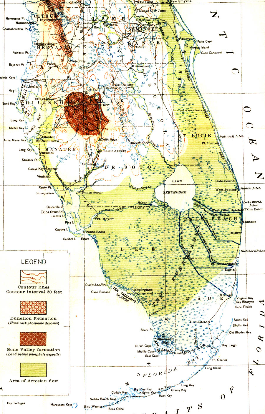 Map Of Everglades Drainage 1913