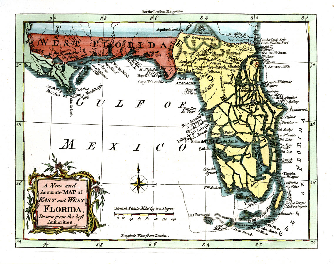 West Florida Map.A New And Accurate Map Of East And West Florida Drawn From The