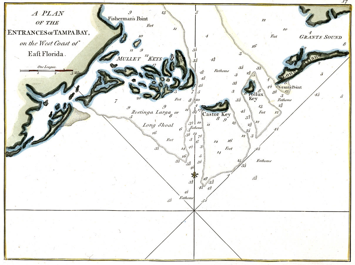 A Plan of the Entrances of Tampa Bay on the West Coast of East ...