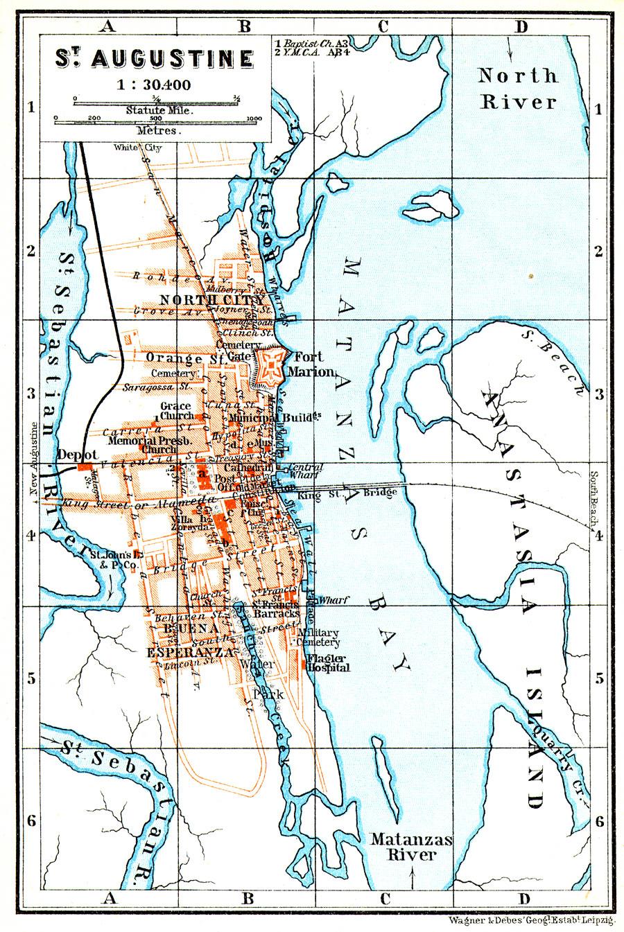 St Augustine Florida Map.St Augustine 1909