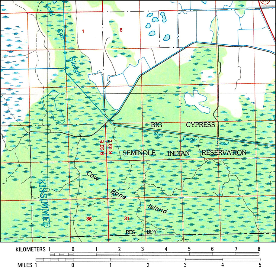 A Portion Of The Us Geological Survey And National Ocean Service Naples Quadrangle Map Of The Southern Florida Current To 1985 Showing The Big Cypress