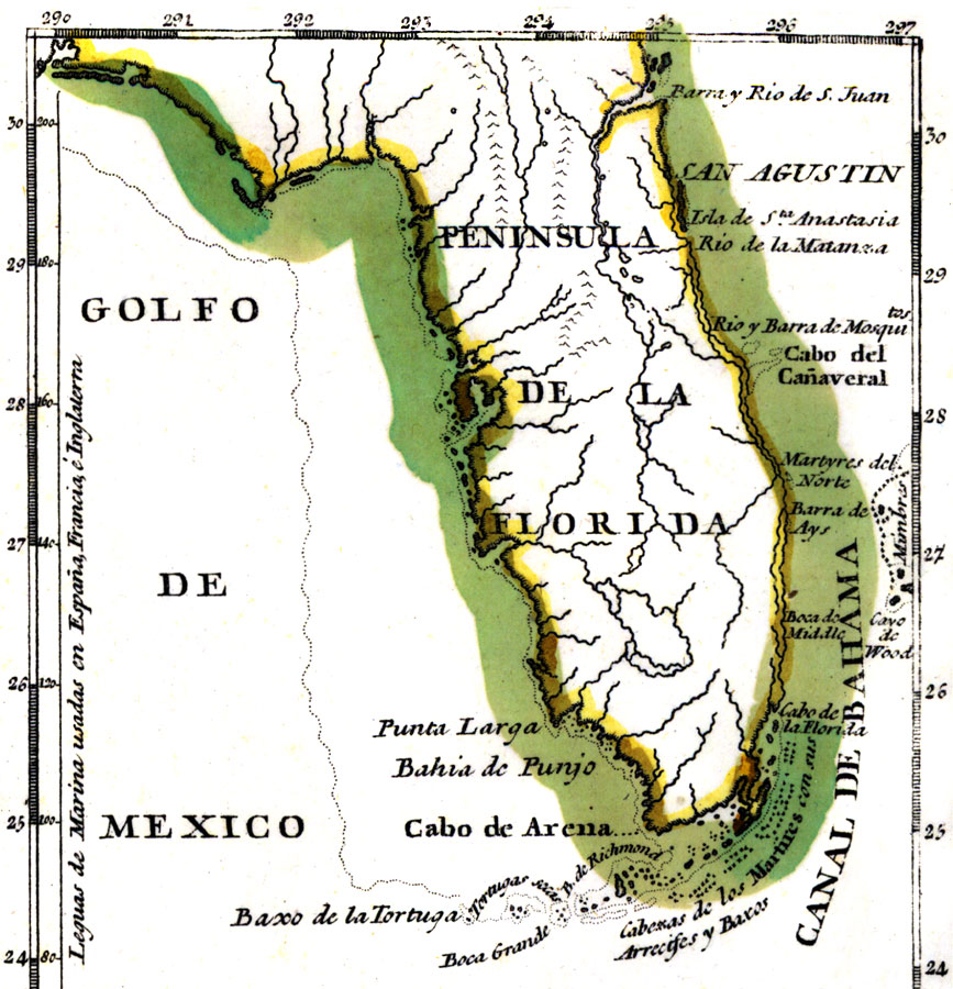 Map De Florida.Peninsula De La Florida 1783