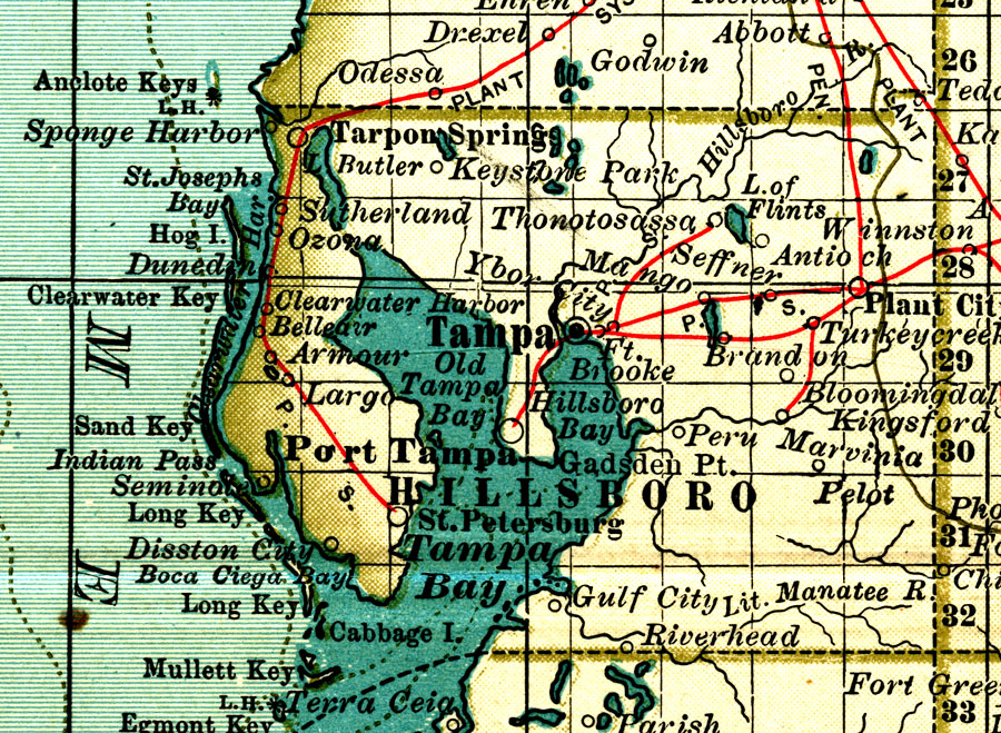 Hillsborough County Elevation Map Hillsborough County, 1897