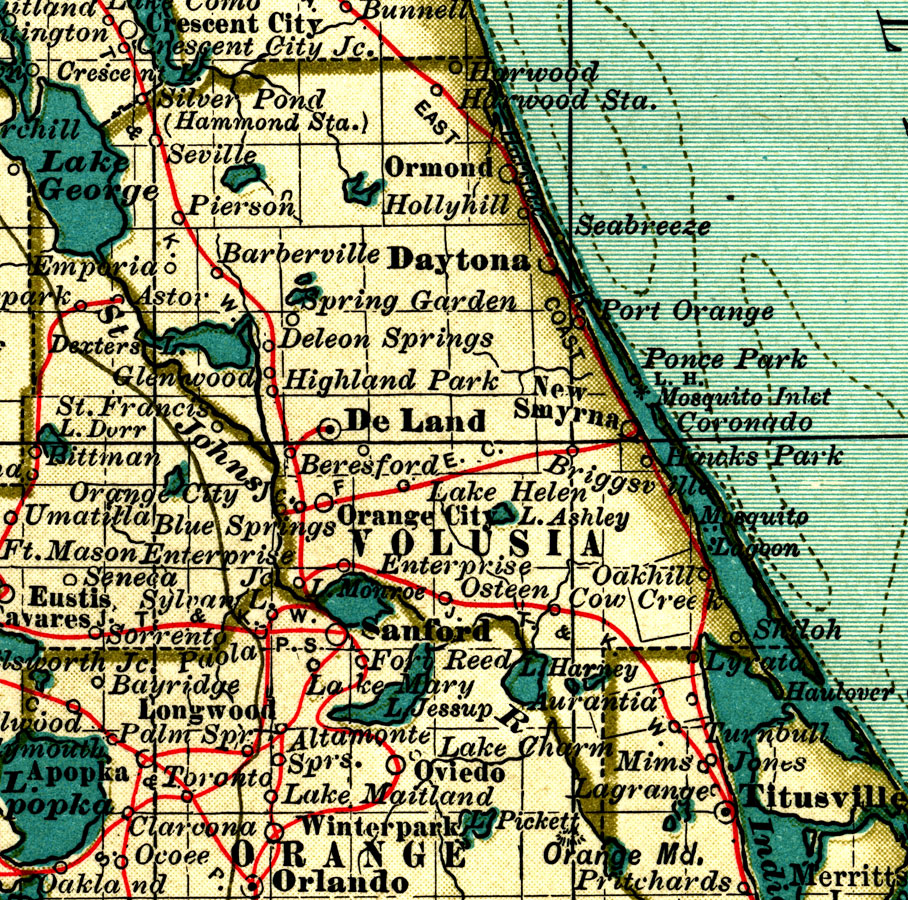volusia county This detail of a map from the annual report of the surveyor general in 1856 shows volusia county drainage, cities and towns, roads, trails, and location of railroad lines are shown in great detail the major water features of the area are mosquito i .