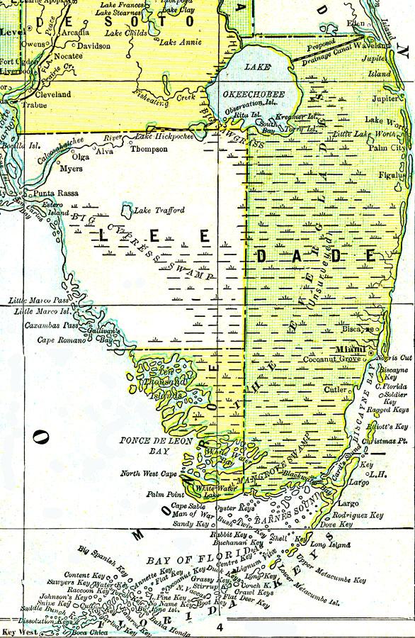 Everglades Florida Map.Everglades And South Florida 1890